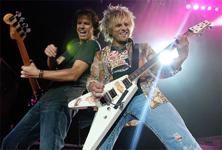 Poison band members Bobby Dall (left) and CC Deville, performers at the 2009 Tony Awards airing Sunday, June 7 live from Radio City Music Hall on CBS at 8/7c. Photo: McKay/WireImage.com