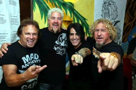 Michael Anthony, Guy Fieri and Alex González join Sammy Hagar backstage at his 23rd annual Birthday Bash. Photo Credit Chris S